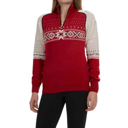 Dale of Norway Kuppern Sweater - Merino Wool, Zip Neck (For Women) in Raspberry/Navy/Off White - Closeouts
