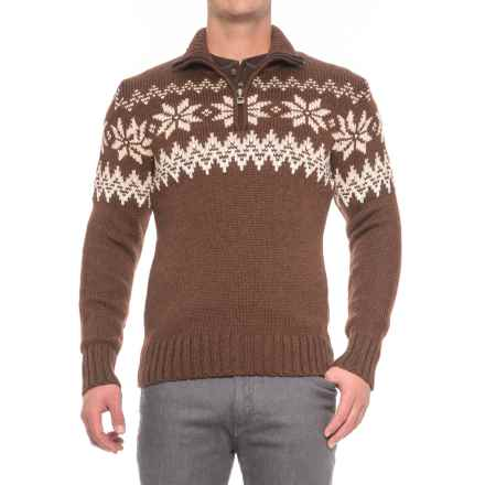 Dale of Norway Myking Masculine Sweater - Merino Wool, Zip Neck (For Men) in Firewood - Closeouts