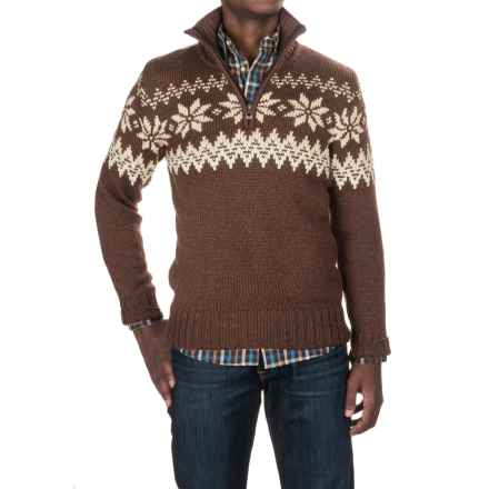 Dale of Norway Myking Masculine Sweater - Merino Wool, Zip Neck (For Men) in Off White/Sand/Firewood - Closeouts