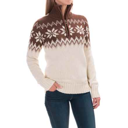 Dale of Norway Myking Sweater - Merino Wool, Zip Neck (For Women) in Off White/Sand/Firewood - Closeouts