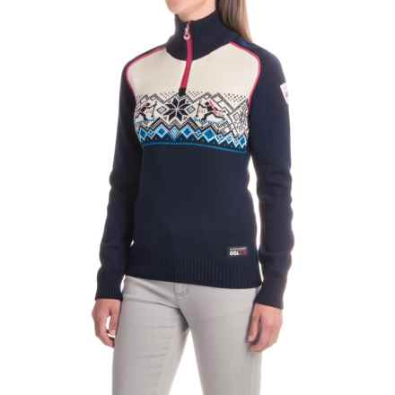 Dale of Norway Oslo World Championship Sweater - Merino Wool, Zip Neck (For Women) in Navy/Sochi Blue/Off White/Allium - Closeouts