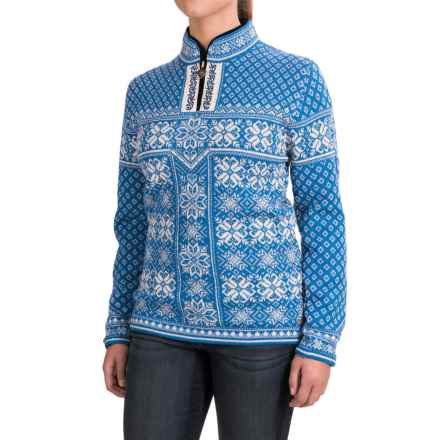 Dale of Norway Peace Sweater - Wool, Zip Neck (For Women) in Cobalt/Off White - Closeouts