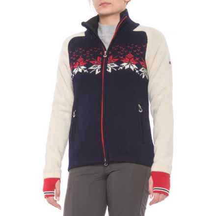 Dale of Norway Snetind Sweater Jacket (For Women) in Navy/Off White/Raspberry - Closeouts