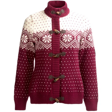 Dale of Norway Stjerne Sweater - Merino Wool (For Women) in Vino Tinto/Off White