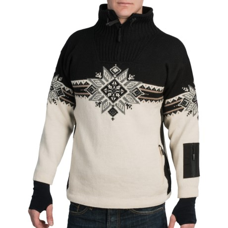 Dale of Norway Storetind Sweater - Wool, Zip Neck (For Men) in Cream/Black