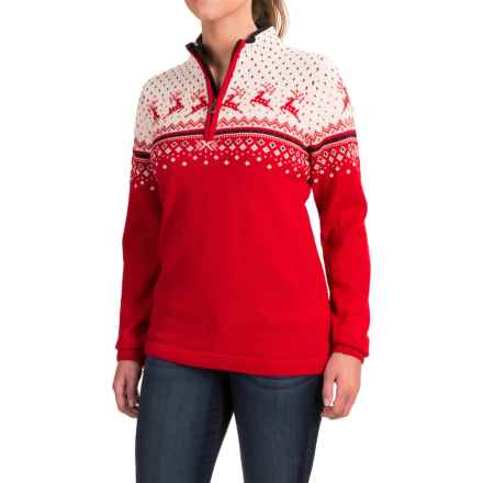 Dale of Norway Tuva Wool Sweater - Long Sleeve (For Women) in Raspberry/Off White/Navy - Closeouts