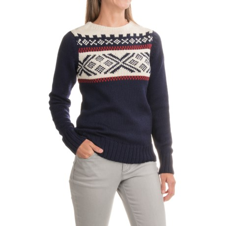 Dale of Norway Voss Sweater - Merino Wool (For Women) in Navy/Raspberry/Off White