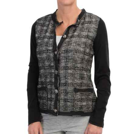 DAMASK Merino-Cotton Plaid Cardigan Sweater - Novelty Trim (For Women) in Natural/Black - Closeouts