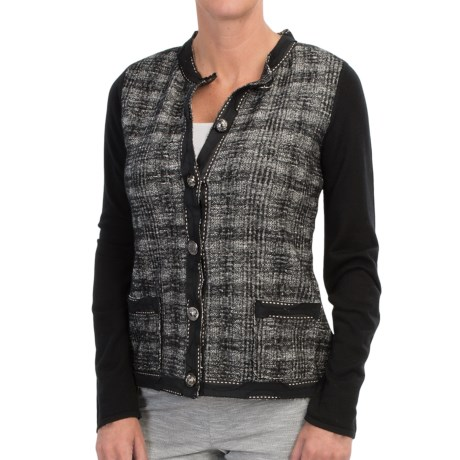 DAMASK Merino Cotton Plaid Cardigan Sweater Novelty Trim (For Women)