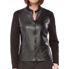 Damask Rib-Knit and Woven Cotton Jacket (For Women) in Black - Closeouts
