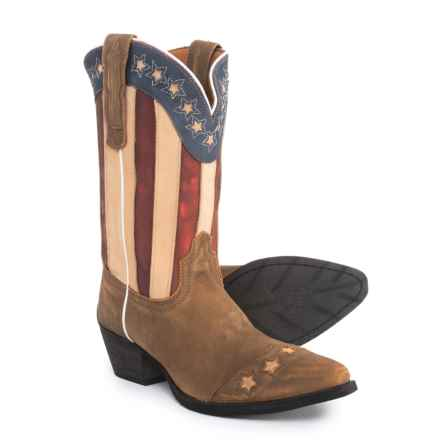 Dan Post American Flag Cowboy Boots (For Girls) in Brown - Closeouts