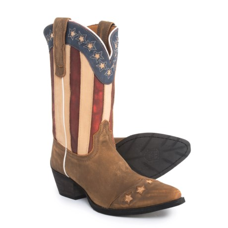 Dan Post American Flag Cowboy Boots (For Girls) in Brown