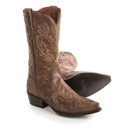 "Dan Post Asheville Lizard Cowboy Boots - 13"", Snip Toe (For Men) in Bay Apache - Closeouts"