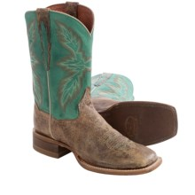 Dan Post Bail Out Cowboy Boots - Leather, Square Toe (For Men) in Tan/Turquoise - Closeouts