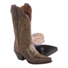 "Dan Post Carisma Leather Cowboy Boots - 12"", Snip Toe (For Women) in Brown Crackle - Closeouts"