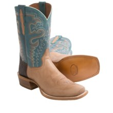 Dan Post Chute Fighter Cowboy Boots - Leather, Square Toe (For Men) in Blue/Cream - Closeouts