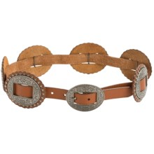 Dan Post Concho Leather Belt (For Women) in Tan - Closeouts