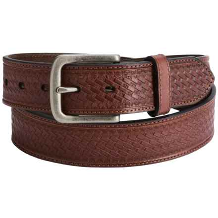 Dan Post Embossed Basket-Weave Leather Belt (For Men) in Brown - Closeouts