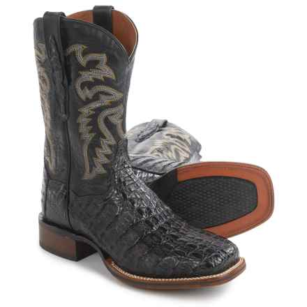 "Dan Post Everglades Midnight Caiman Cowboy Boots - Square Toe, 11"" (For Men) in Midnight - Closeouts"