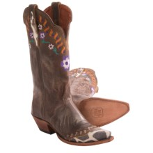 Dan Post Flower & Vine Cowboy Boots - Leather, Snip Toe (For Women) in Bay Apache/Giraffe Tip - Closeouts