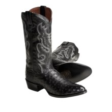 Dan Post Full-Quill Ostrich Cowboy Boots - R-Toe (For Men) in Black - Closeouts