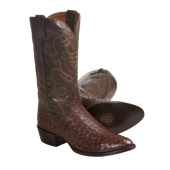 Dan Post Full-Quill Ostrich Cowboy Boots - R-Toe (For Men) in Tobacco