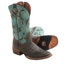 Dan Post Garden Party Cowboy Boots - Leather, Square Toe (For Women) in Chocolate/Turquoise - Closeouts