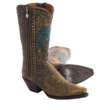 "Dan Post Heart Breaker Cowboy Boots - 11"", Snip Toe (For Women) in Brown - Closeouts"