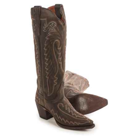 "Dan Post Heather Embroidered Cowboy Boots - 15"", Snip Toe (For Women) in Vintage Tan - Closeouts"