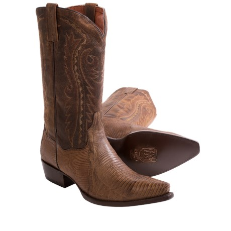 Dan Post Hickory Lizard Cowboy Boots - Snip Toe (For Men) in Bay Apache