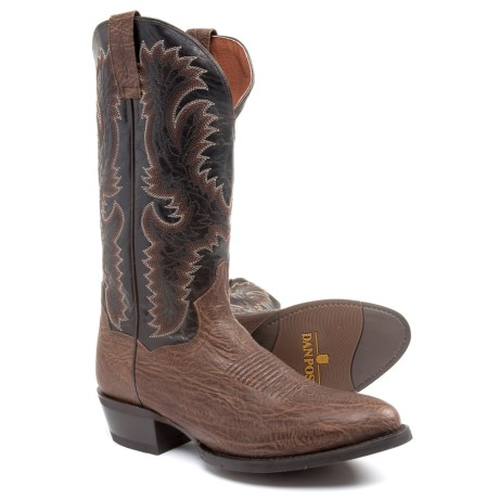 """Dan Post Moses Cowboy Boots - 13"""", Round Toe (For Men) in Chocolate"""