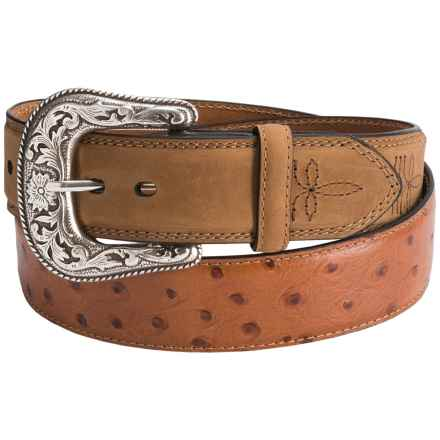 Dan Post Ostrich Print Leather Belt (For Men) in Tan - Closeouts