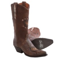 Dan Post Shabby Chic Cowboy Boots - Leather, Snip Toe (For Women) in Chocolate - Closeouts
