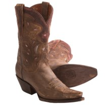 Dan Post Star and Moon Cowboy Boots - Leather, Snip Toe (For Women) in Tan - Closeouts
