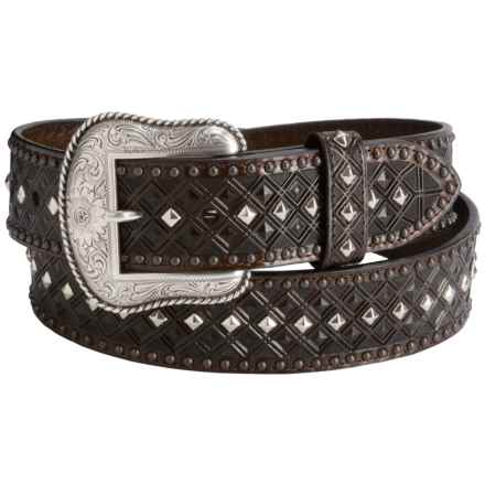 Dan Post Textured Stud Leather Belt (For Men) in Brown - Closeouts