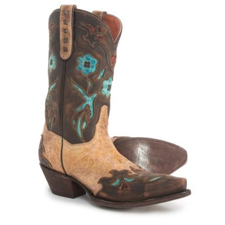 "Dan Post Vintage Bluebird Cowboy Boots - 11"", Snip Toe (For Women) in Beige/Bluebird"