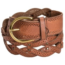 Danbury Braided Leather Belt (For Women) in Tan - Closeouts