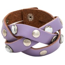 Danbury Cowgirl Rock Braided Leather Bracelet with Gems (For Women) in Purple - Closeouts