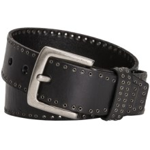 Danbury Grommet-Trim Leather Belt (For Women) in Black - Closeouts