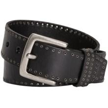 Danbury Grommet-Trim Leather Belt (For Women) in Black - Closeouts