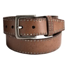 Danbury Grommet-Trim Leather Belt (For Women) in Brown - Closeouts