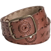 Danbury Hipster Leather Belt (For Women) in Tan - Closeouts