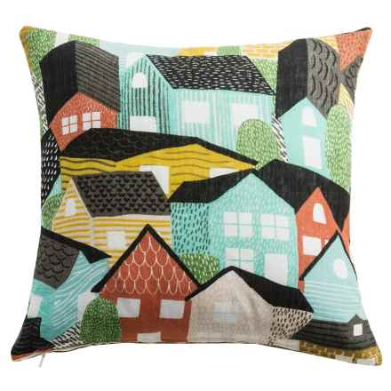 "Danica Studio Linen Decorative Throw Pillow Cover - 17"" in Village - Closeouts"