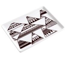 """Danica Studio Porcelain Bath Accessory Tray - 5x6.5"""" in Summit Stripe - Closeouts"""