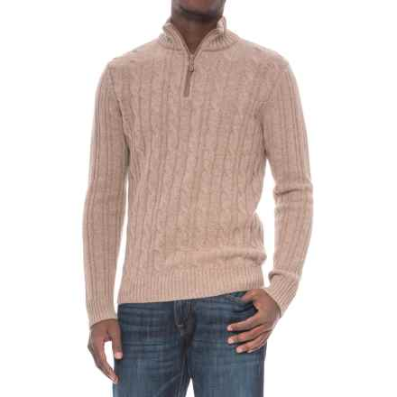 Daniel Blasi Daniele Blasi Cable Suede-Detail Sweater - Zip Neck (For Men) in Taupe/Oatmeal - Closeouts
