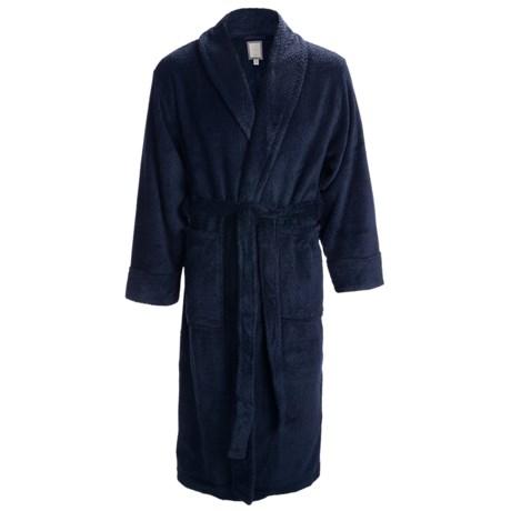 Daniel Buchler Belted Plush Robe - Shawl Collar, Long Sleeve (For Men) in Black