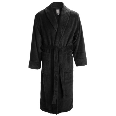 Daniel Buchler Wave Belted Plush Robe - Shawl Collar, Long Sleeve (For Men) in Black