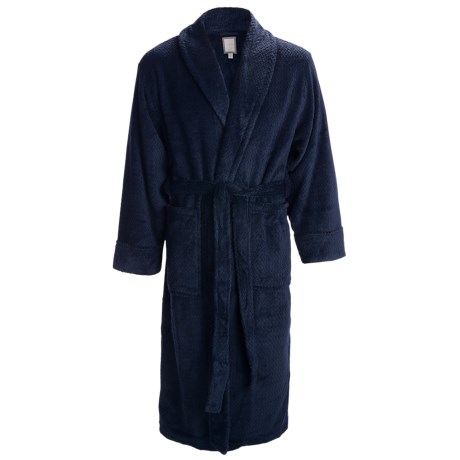 Daniel Buchler Wave Belted Plush Robe - Shawl Collar, Long Sleeve (For Men) in Navy