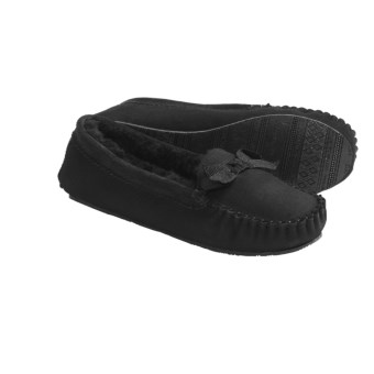 Daniel Green Nessa Moccasin Slippers - Sheepskin, Shearling Lined (For Women) in Black