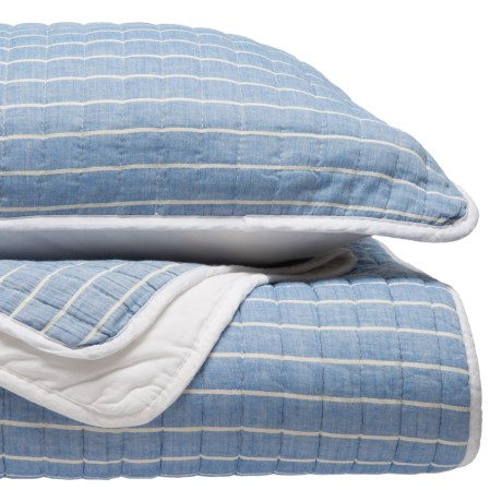DANNY SEO Granada Stripe Quilt and Sham Set - Full-Queen in Blue